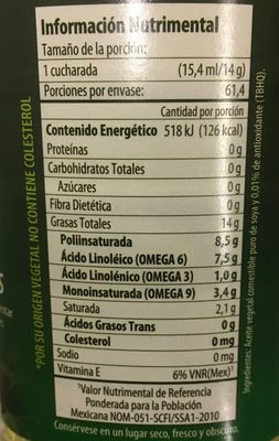 Aceite de soya Nutrioli - Voedingswaarden