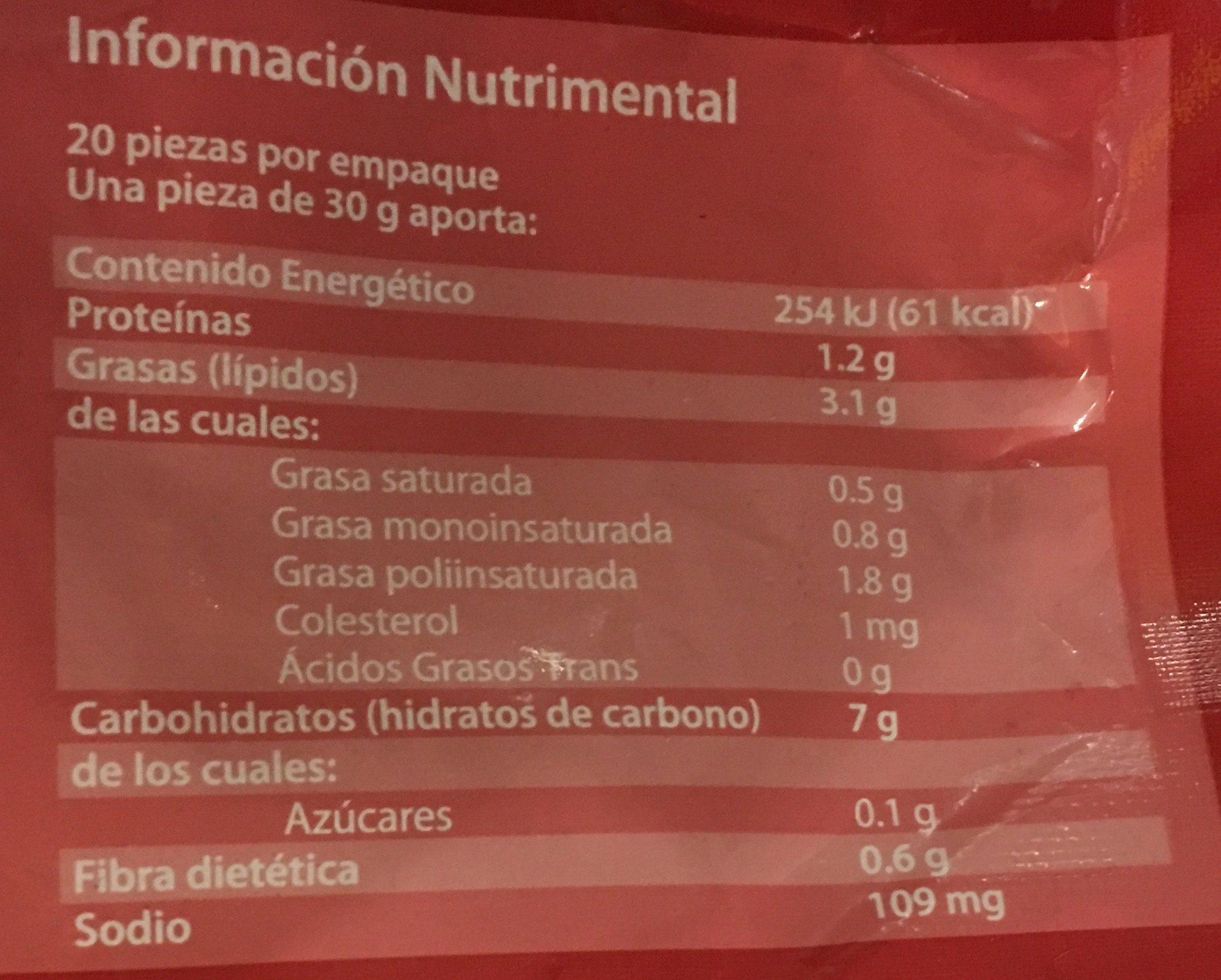 Flautas de cochinita Pibil - Informations nutritionnelles