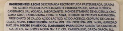 Queso estilo Panela La Villita - Ingrediënten - es
