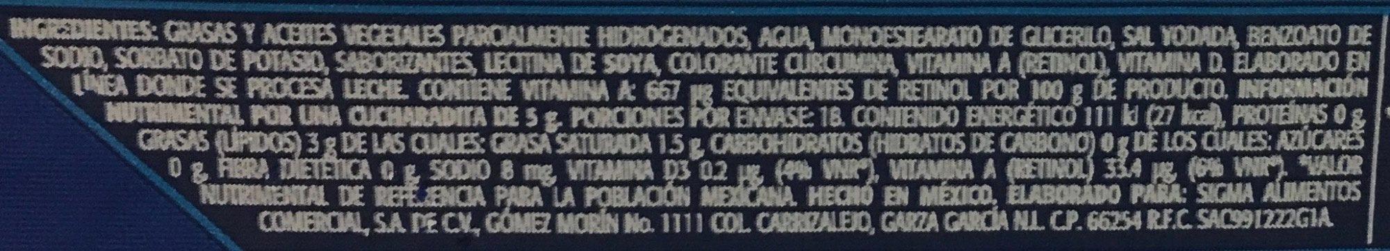 Margarina sin sal La villita - Voedingswaarden - es