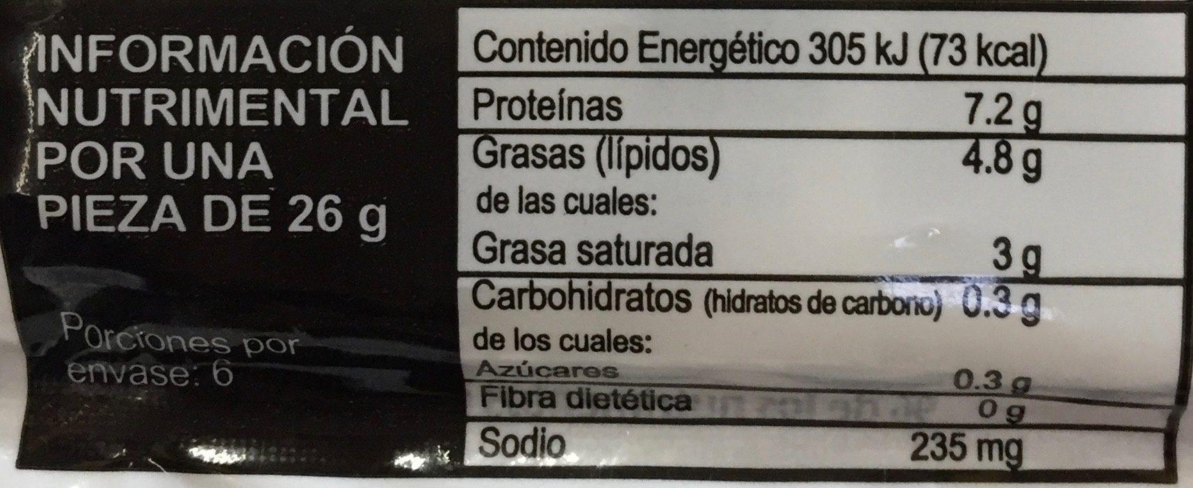 Snax - Dedos de queso mozzarella - Informations nutritionnelles - es