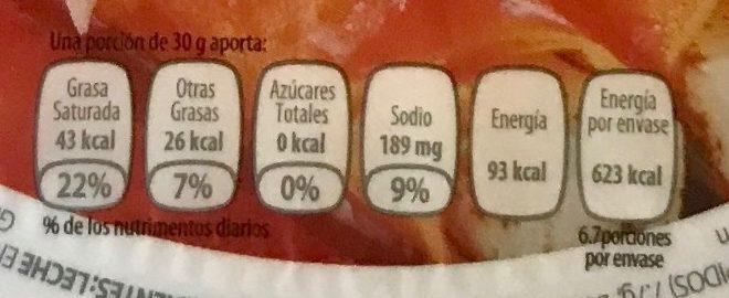 Queso Panela Fud - Información nutricional - es