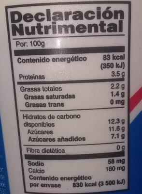 Yoghurt - Información nutricional - es