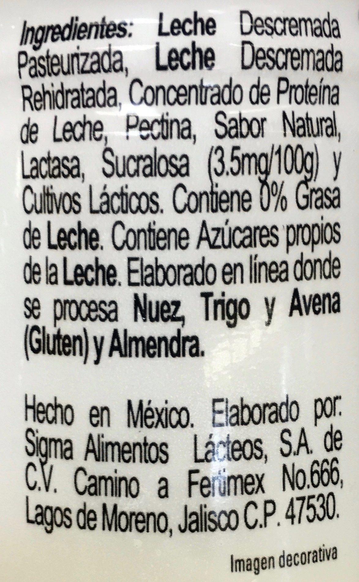 Yoplait doble cero - Natural - Ingredientes - es