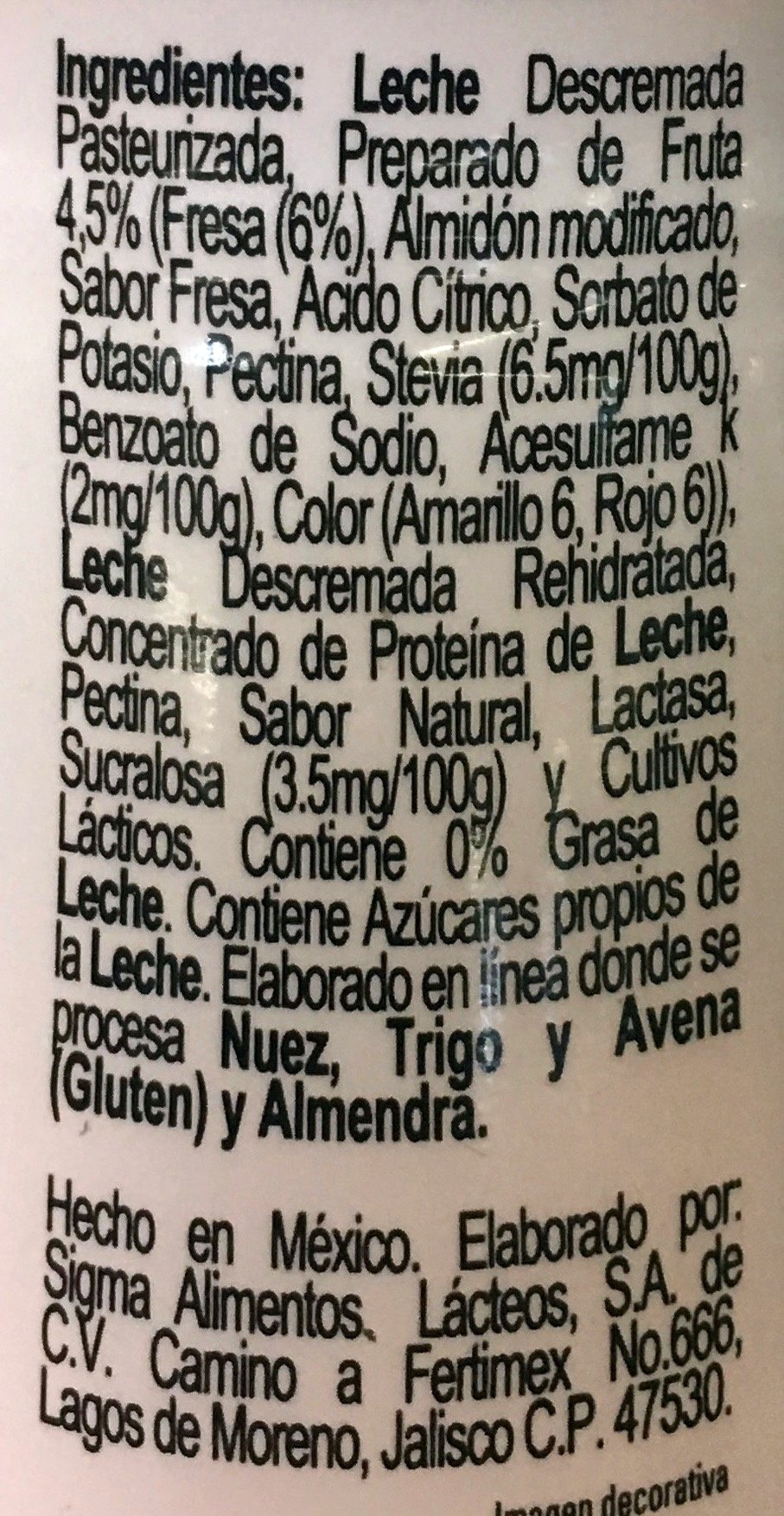 Yoplait Doble Cero - Ingredients - es