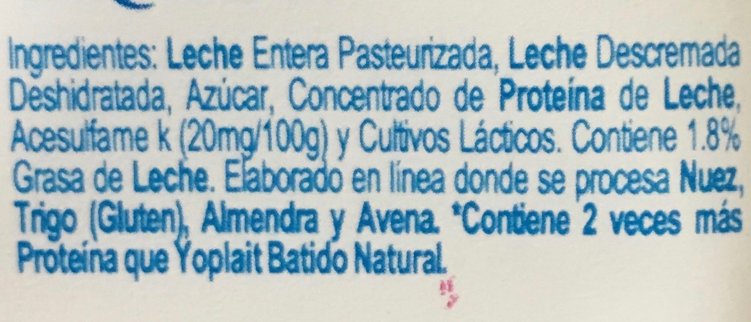Yoplait Griego Natural - Ingredients