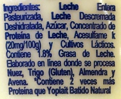 Yoplait Griego Natural - Ingrédients - es
