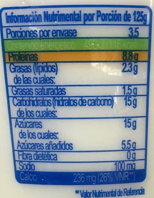 Yoplait Griego Natural - Nutrition facts