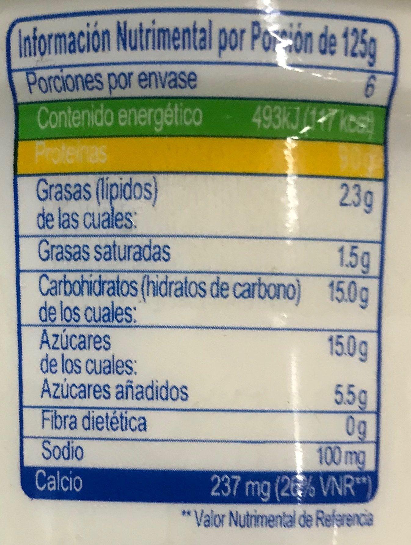 Yoplait Griego Natural - Nutrition facts