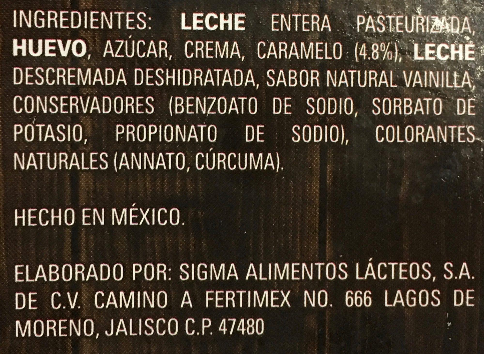 Flan Casero Yoplait - Ingrediënten - es