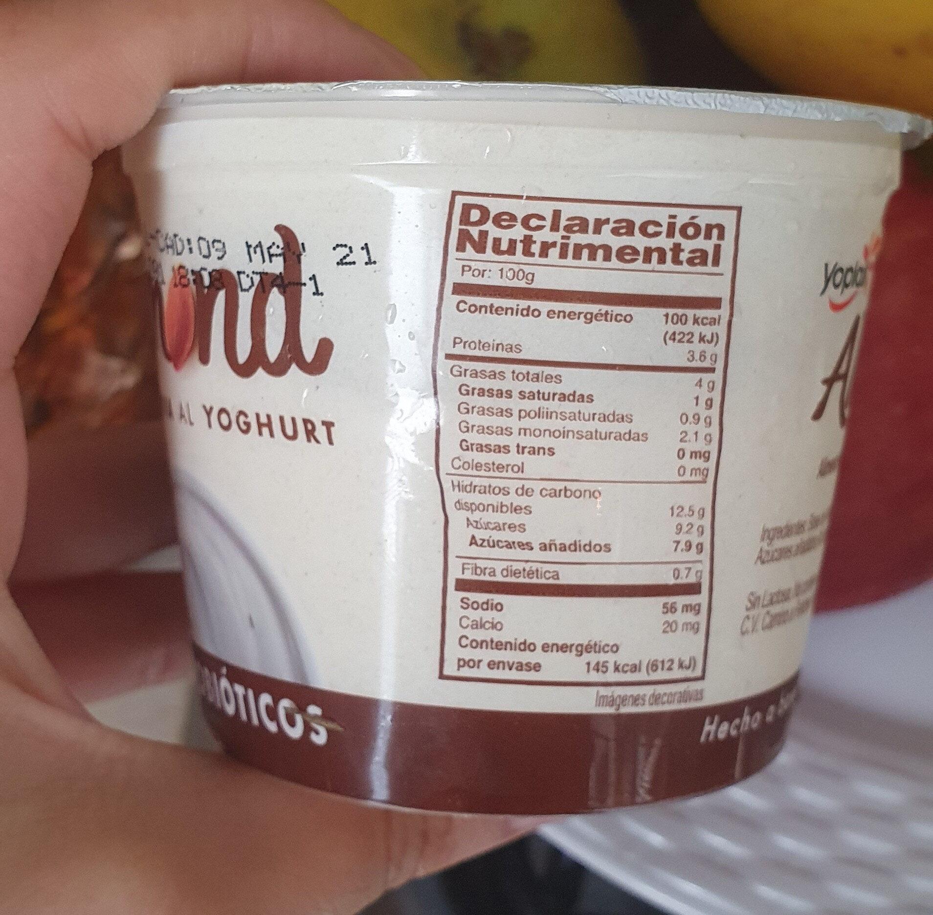 Yogurt almendra - Información nutricional - en