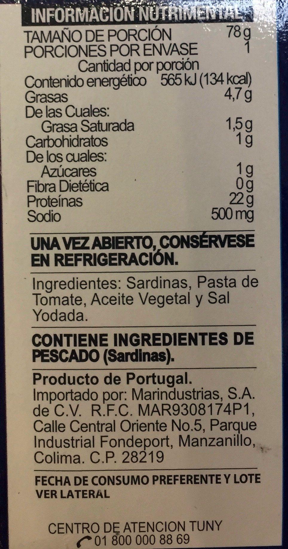 Tuny, Sardinas en salsa de tomate - Ingrediënten