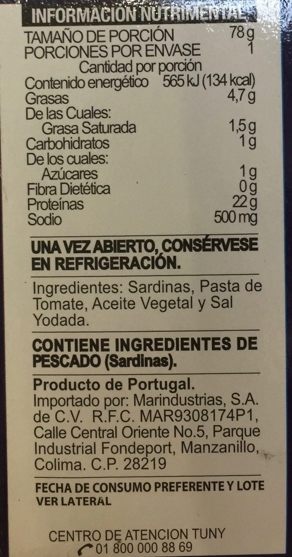 Tuny, Sardinas en salsa de tomate - Voedingswaarden