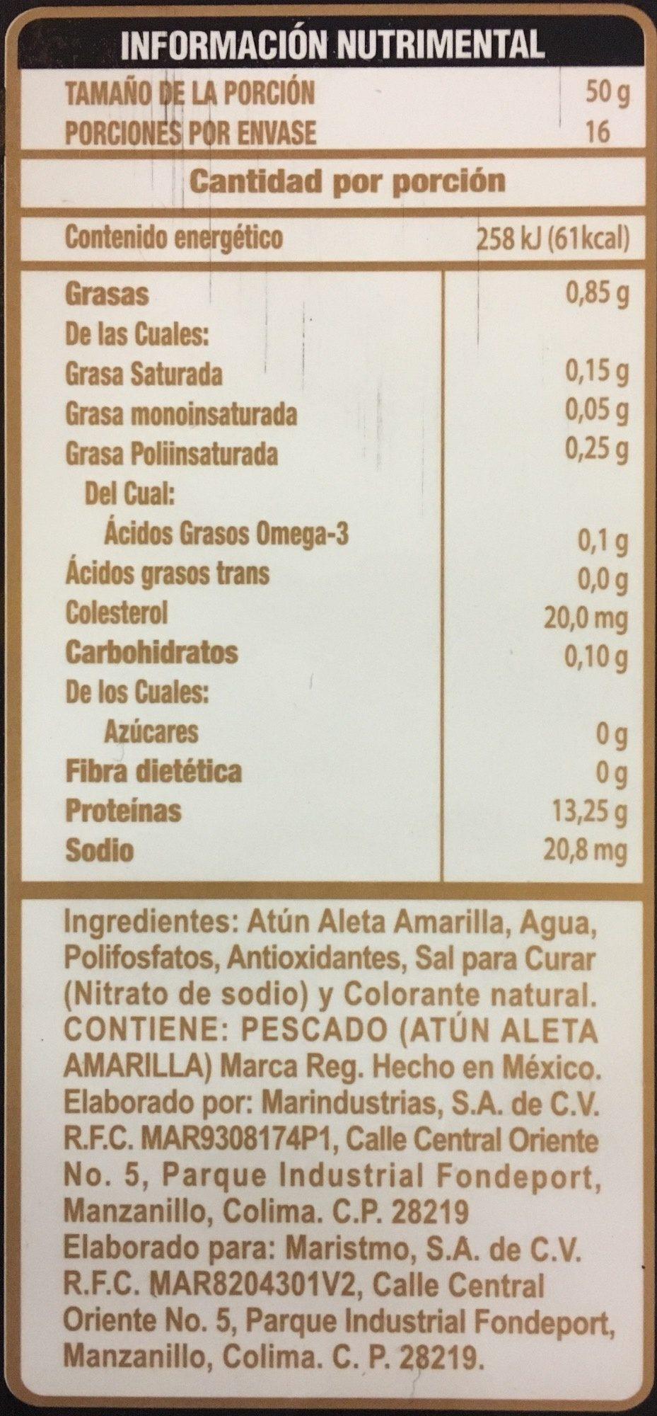 Medallones de Atún, Tuny, - Informations nutritionnelles