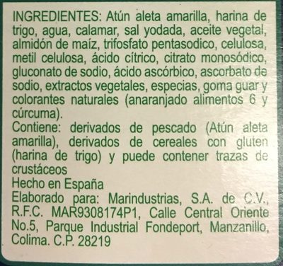Dedos de atun - Ingrediënten - es
