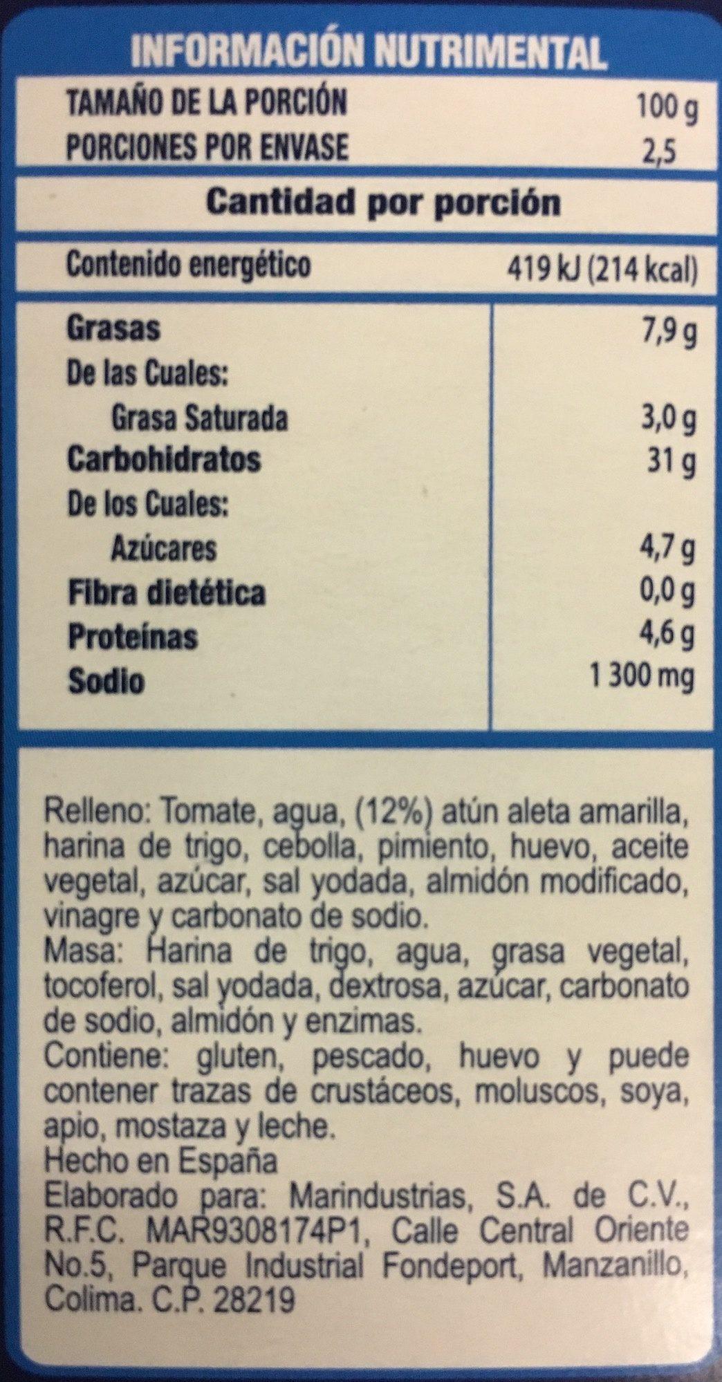 Empanadas de Atún, Tuny, - Informations nutritionnelles - es