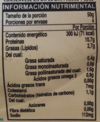 Atún Aleta Amarilla en salsa 3 chiles - Información nutricional - es