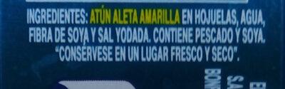 Lomo de atún aleta amarilla en agua - Ingredientes - es