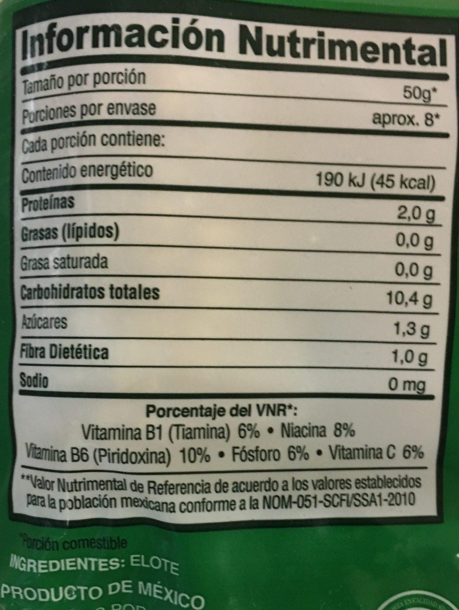 Elote Entero, La Huerta, - Voedingswaarden - es