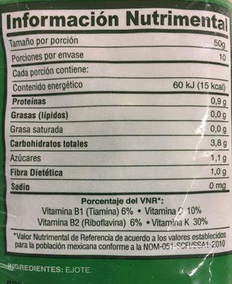EJOTES - Informations nutritionnelles - es