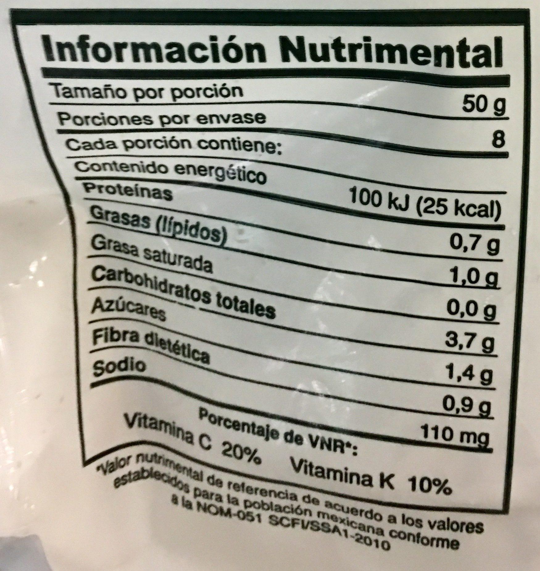 VEGETALES SAZONADOS - Informations nutritionnelles - es