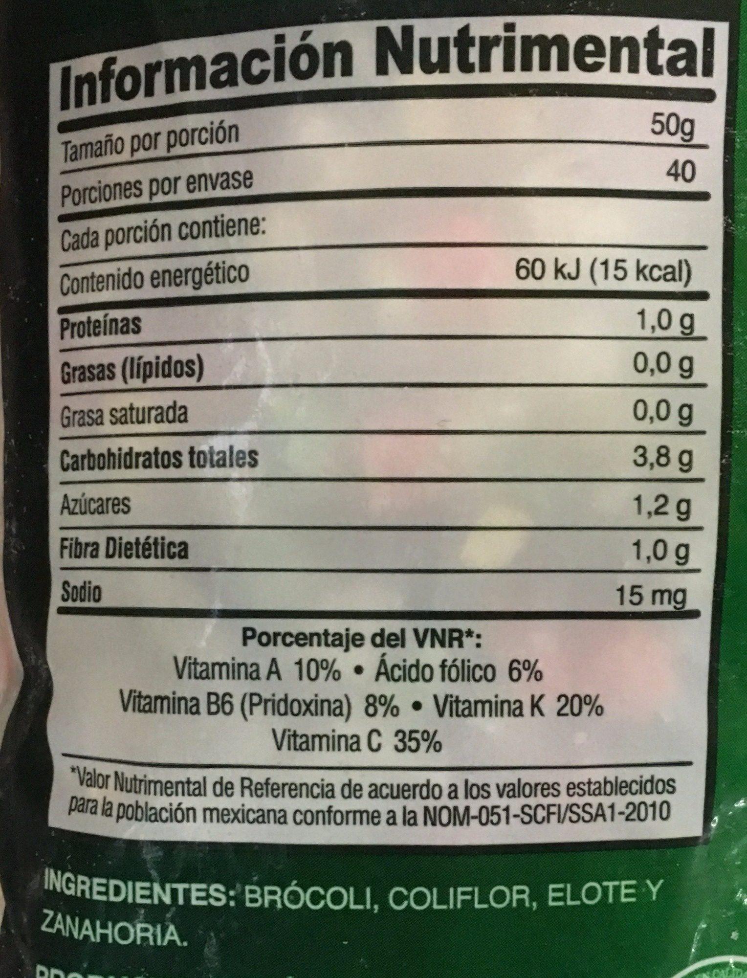 GUARNICION DE VERDURAS - Informations nutritionnelles - es