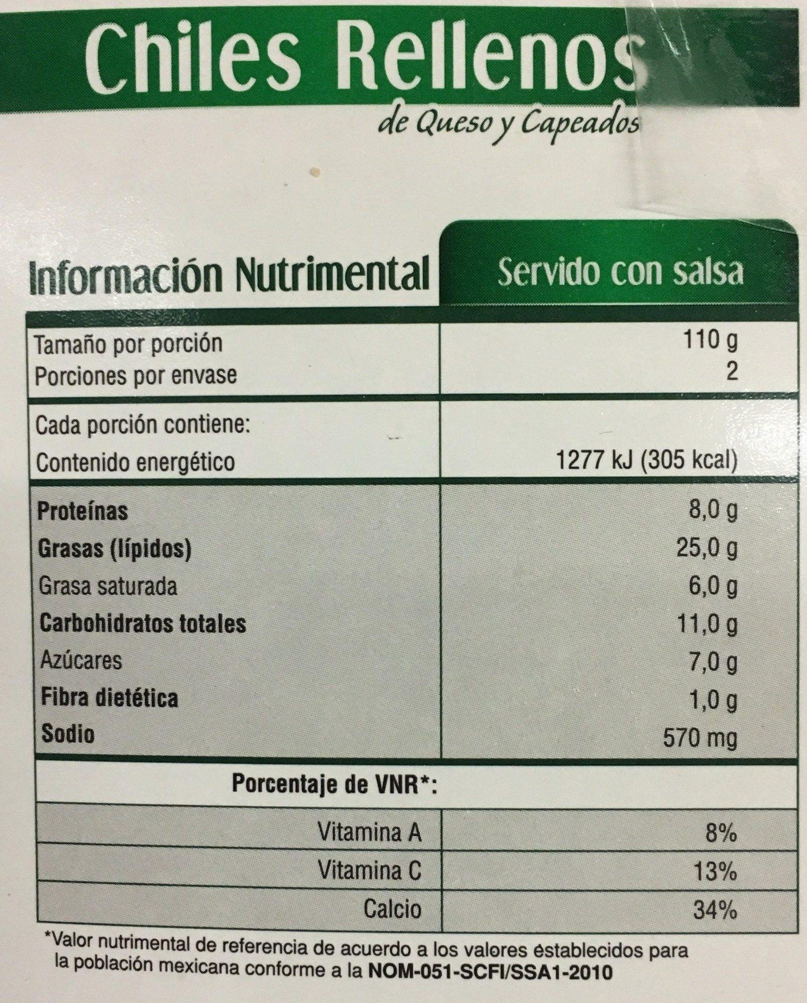 Chiles Rellenos - Informations nutritionnelles - es