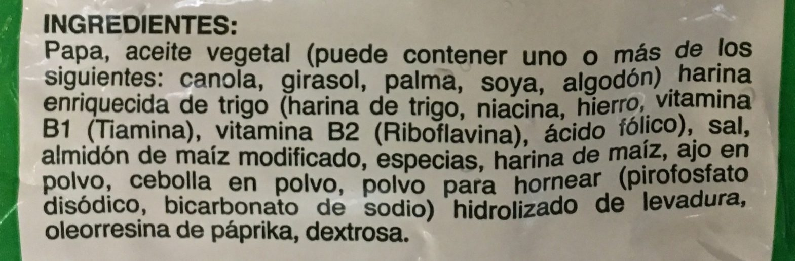 Papas Ajos Sazonados La Huerta - Ingrediënten - es