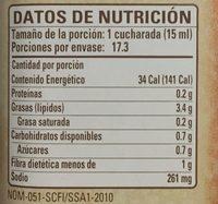 Aderezo soya y limon - Información nutricional - es