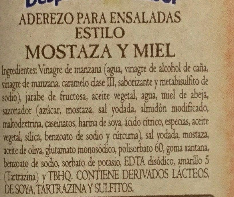 ADEREZO MOSTAZA Y MIEL LÍNEA GOURMET - Ingredientes - es
