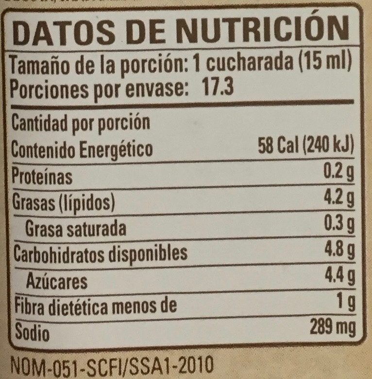ADEREZO MOSTAZA Y MIEL LÍNEA GOURMET - Información nutricional - es