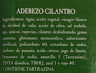 ADEREZO CON CILANTRO - Ingredientes - es