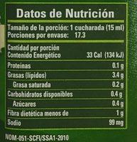 ADEREZO CON CILANTRO - Información nutricional - es