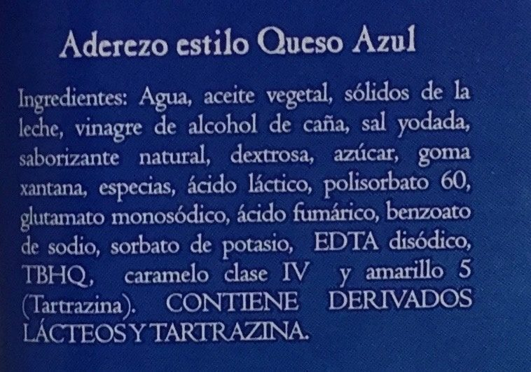 ADEREZO BLUE CHEESE - Ingredientes - es