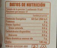 VINAGRETA BALSAMICA - Información nutricional - es