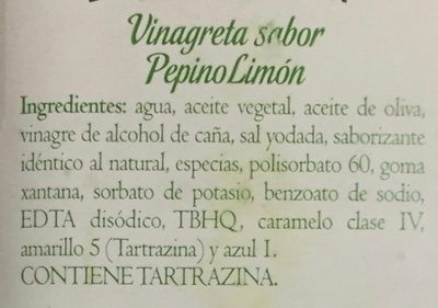 VINAGRETA PEPINO LIMON - Ingredientes - es