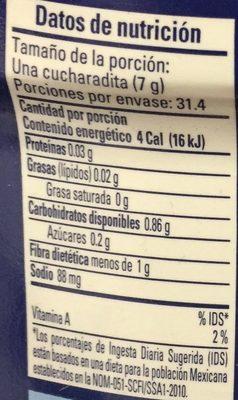 Chiles Jalapenos Molidos Squeeze - Información nutricional - es