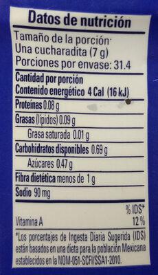 Chipotles molidos botella 220 g - Información nutricional - es