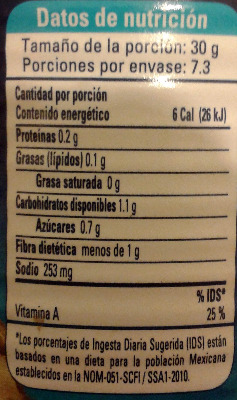 Nachos chiles jalapeños en escabeche - Voedingswaarden