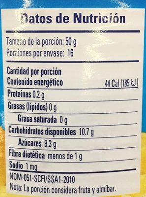 TROZOS DE PIÑA EN ALMÍBAR - Información nutricional - es