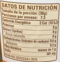 Habaneros en escabeche - Información nutricional - es