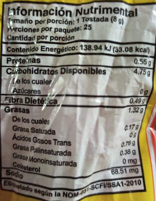 Tostadas mission - Informations nutritionnelles - es