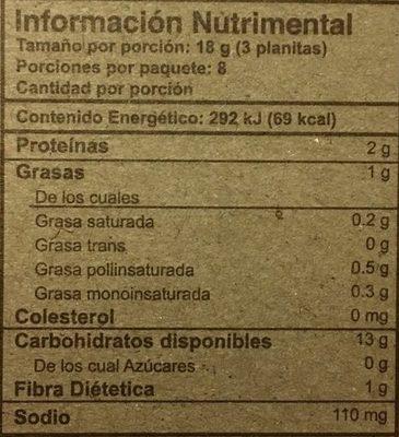 Planitas Horneadas - Informations nutritionnelles - es