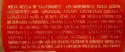 Coca-Cola pet - Ingredientes - es