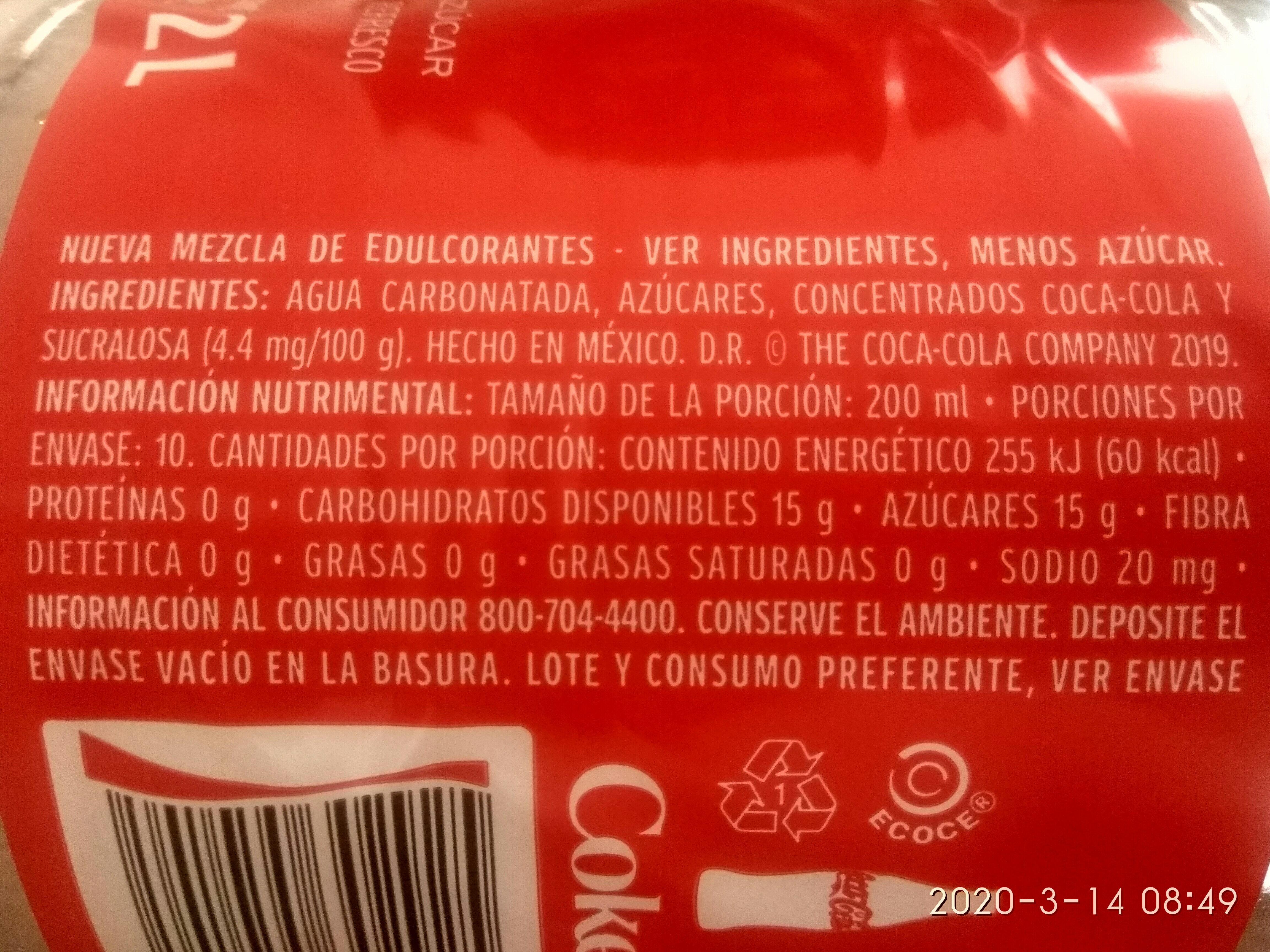 Coca-Cola - Información nutricional - es