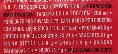 Coca-Cola sabor original - Valori nutrizionali - es