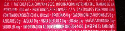 Coca Cola Sin Azúcar - Voedingswaarden - es