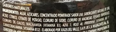Powerade Uva - Ingrédients