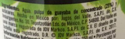 Del Valle Nectar de Guayaba - Ingredientes - es