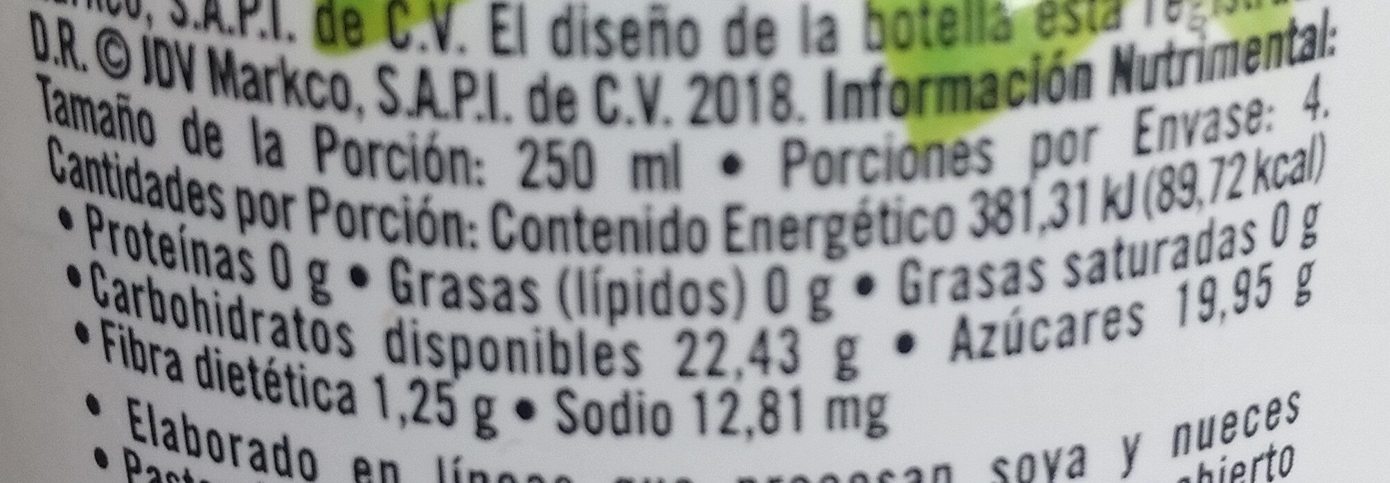 Néctar de mango - Información nutricional - es
